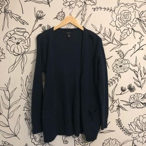 Navy Blue Knit Button Up Oversized Cardigan